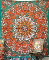 Wholesale Lotus Totem Printed Tapestry Square Wall Hanging India Mandala Beach Towel Yoga Mat Tapestries Decorative Wall Tapestry Blanket