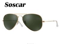 al por mayor los hombres gafas de sol polarizadas originales-Soscar auténtico marco de oro de Sunglass polarizado 001/58 58-14 UV400 marca diseñador de Sunglass hombres SUN gafas de metal bisagra con caja original