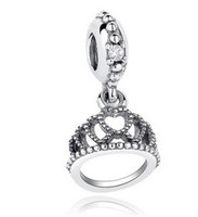 Wholesale Queen Crown Pendant Charm Silver European Charms Bead Fit Pandora Snake Chain Bracelet Fashion DIY Jewelry Xmas