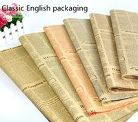Wholesale Wrapping paper retro fashion multi functional English newspapers packaging flowers gifts can also be used as a bag of paper