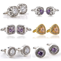 Wholesale Pairs Mix Jewelry Gems Crystals Men s Cufflinks Wedding Blouse Dress Accessory Dad Gift SLXK18020