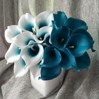 Голубые лилии RU-Оптово-100 Real касания Калла Teal Латекс каллы Teal Синий цветок венчания для венчания Centerpieces украшения оптом, цветы