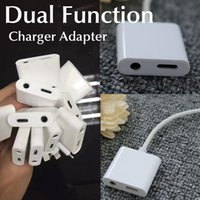 Wholesale Dual Function charger Adapter to mm Headphone For IOS With Extension charging Cable