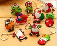 Wholesale Santa Claus Christmas Gift Ornament Cartoon pvc Keychain Key Ring Fashion Christmas Cell Phone Tree Doll Pendant DHL Hot Sale
