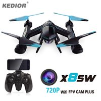 Wholesale 720P FPV Drone X8SW RC Quadcopter Helicopter G CH Axis RC Helicopter Drones Can Add Real time MP HD Camera