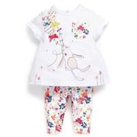 al por mayor bebé vaenait-La camiseta al por mayor de la ropa de noche del conejito de los pijamas de las muchachas de los muchachos del niño del bebé de Vaenait remata el juego floral de las polainas