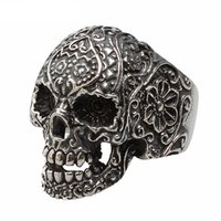 american indian tribes - Stainless Steel Jewelry Carved Design Pattern Floral Skull Ring Cool Punk Tribe Gothic Ghost Biker Band Size for Men and Women