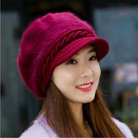Wholesale Fashion New Winter Elegent Women Hat Warm Knitted Crochet Slouch Baggy Beret Beanie Hat Cap for women bonnet femme Cheap