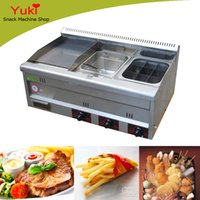 Wholesale 2017 Multifunctional Gas Griddle With Gas Fryer With Cooker Griddle Pan Gas Deep Fryer Meatball Cooker