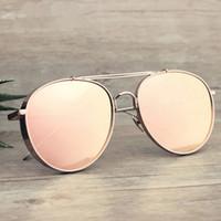 achat en gros de gafas aviator-Pink Retro Aviator Lunettes de Soleil Femmes Marque Designer Coating Mirrored Steampunk Round Circle Shades Vintage Gafas Femmes Sol