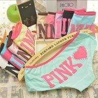Wholesale Fedex DHL Free Fashion Women VS pink color briefs elastic waist letters printed cotton underwear lady comfortable movement underpants b1148