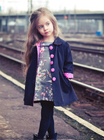 Wholesale 2 yrs New Kids Wind Coats Children Outerwear Fashion Girl Coat Trench Bowknot Long Sleeve Spring for Girls