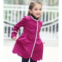 Wholesale Fashion Designer Girls Jackets Coats Kids Girl Rose Purple Jacket Coat With Lace Collar Girl Outwear Dress Girls Trench Jacket