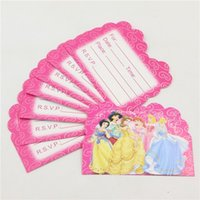 Wholesale Princess Theme Invitation Paper Cards Decoration Birthday Party Happy Baby Shower Kids Favors Event Disposable Supplies pc