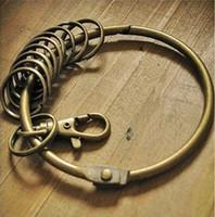 Wholesale 100 Hot Large Vintage Alloy Key Rings Holder Bronze Round Keychain Key Holder DHL Fedex
