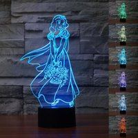 baby changing tables - Catoon Snow White Toilet Night Light Baby Light Optical Illusion Night Lights Desk Table Lamp Various Colors Change