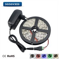 Cheap Wholesale-LED Strip light Ribbon 5050 SMD 5M Single Colors 60LEDs M   3A DC 12V Power Adapter   DC Connector For DIY Indoor Decorative