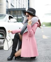 Wholesale 2017 Hot Sale Fur Hooded Long Sleeves Wool Blends Coats Double Button Long Sleeves Slim Lady Long Jackets