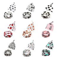 10 Style About 0-3T One size Infants Toddler Supplies Sets 2 pcs Cute Newborns Cotton Bibs And Hat Suits for Baby Infants Boy Girl Fruits Animal Printed Accessories
