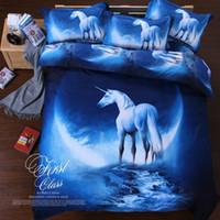 bedding sets twin xl - D galaxy bedding set horse print duvet doona cover bed sheet pillow cases queen twin XL size bed linen set