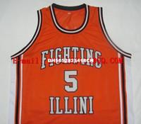 Wholesale high quality Retro Deron Williams Fighting Illinois College Basketball Jerseys Throwback Men s Stitched Vintage Orange white Jers