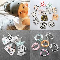 baby ear drops - Wholesales Infant Caps Scarves Sets Newborn Baby Hats Cute Kids Beanie Boy Girl Hats Ear Muff Drop Shipping