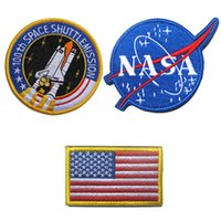 army fleece fabric - NASA th Space ShuttleMission US Flag Tactical Patch Morale Patches Hook Loop D Embroidery Badge Military Army Badges free ship
