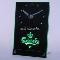 Wholesale tnc0091 Carlsberg Beer D LED Table Desk Clock