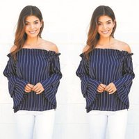 Wholesale Hot Women Sexy Off Shoulder Casual Loose Long Sleeve Shirt Fashion Striped Slash Neck Tops Lady Blouse
