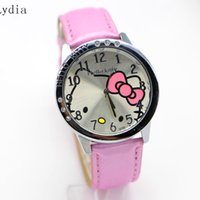 vente de montres de mode pour enfants achat en gros de-Vente en gros - 10pcs / lot HOT Sale Fashion Cartoon Watch Hello Kitty Montres femme enfants enfants regarde Relogio Clock hellokitty mix color