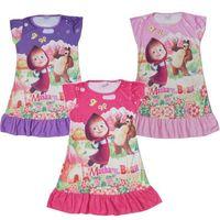 Wholesale 2017 Summer Children Clothing Girls Dress Sleepwear Masha and The Bear Kids Short Sleeve Dresses Nightgown Baby Pajamas Clothes