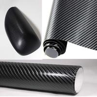 achat en gros de carbon fiber vinyl-127CM * 30CM Car Styling Waterproof Auto Sticker 3D Carbon Fiber Vinyl Film en noir Car wrap DIY 152cm * 30cm KF-A1084