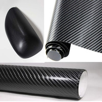 achat en gros de carbon sticker for car-127CM * 30CM voiture styling imperméable voiture autocollant 3D fibre de carbone film vinyle wrap bricolage en noir blanc transparent KF-A1084