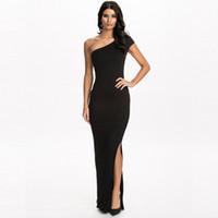 adult fitness - Unique design one shoulder sexy dress party evening elegant black dress floor length bodycon fitness long dress