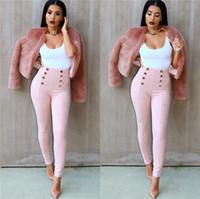 Mulheres s leggings inverno Brasil-Mulheres Calças Winter Snazzy Design Pacote Hip Botão Leggings Mulher Decorativas Plus Size Suede Fabric Casuais Calças Alta Cintura
