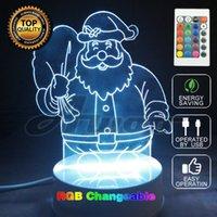 Ball arts control desks - Xmas Color Changing D Optical Illusion Merry CHRISMAS Santa Claus LED Art Sculpture Night Lights Desk Lamp with Remote Control