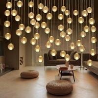 art deco lamp - Crystal Glass Ball Modern LED Chandelier Crystal Ball Dining Room Hall Loft Stair Light DIY Meteor Shower Lustre Pendant Lamp