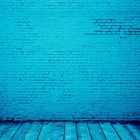 Яркий синий цвет винилового зала Кирпичная стена Деревянный пол Цифровая роспись фоны для фото Baby Baby Back Drops Studio Booth Prop