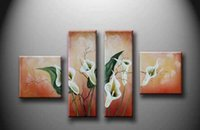 Wood Fiber Wallpaper asia picture - Four flower set Household adornment picture Hotel with painting Hand painted oil painting Pink magnolias