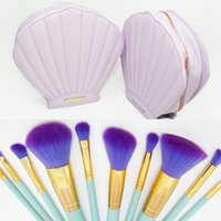 bag charm kits - Gift spectrum brushes mermaid shell pu bag makeup brush set light green powder foundation brush charm professional cosmetics kit