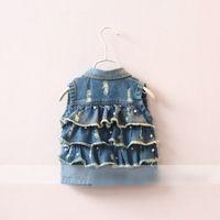 Wholesale Fashion New Girls Waistcoats Denim Outwear Hole Pearl Decorate Back Three Layer Flounce Vest Jean Sleeveless Kids Girl s Waistcoat A5899