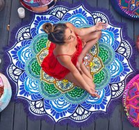 Wholesale Thin Section Round Beach Towel Yoga Mandala Blanket Yoga Cover Up Light Mat Flower Printed Round Fitness Women