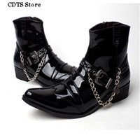ankle boat shoes - CDTS Plus Autumn Male pointed toe Ankle Martin boots fashion leather punk boats men s Motorcycle chain buckle shoes