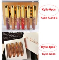 Wholesale 2016 Kylie Jenner Limited Birthday Edition A and B Matte liquid Lipstick mini gold kit Kylie Koko Kollection set Lipgloss