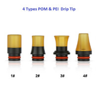 Wholesale 4 Types PEI Drip Tip Wide Bore MouthPiece Black POM with PEI Plastic Raw Material e cig cigarette vapor Atomizers Replacment tips DHL