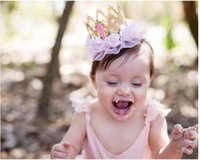 Wholesale New baby s lace crown roses headbands gift boxes seven colors can choose