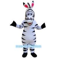 al por mayor cebra madagascar mascota-El tamaño adulto de Adult de la historieta del traje de la mascota de Martie de la cebra de Madagascar libera la nave