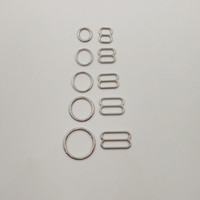Wholesale 50 sets Nickel plated bra sliver rings and sliders