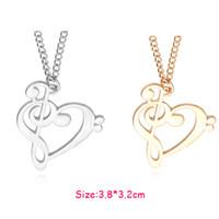 achat en gros de collier coeur de la musique-2016 Nouvelle Mode Loving Coeur Music Note collier chaud or / argent plaqué collier en gros 24pcs / lot