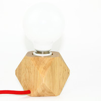aluminum wooden table - Creative small size original wooden table light dimmable switch mini table lamp home decoration lighting E27 ceramic holder